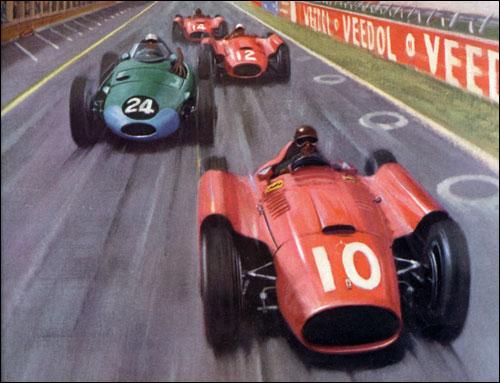 Борьба Харри Шелла с пилотами Ferrari на Гран При Франции 1956 года. Фрагмент рисунка